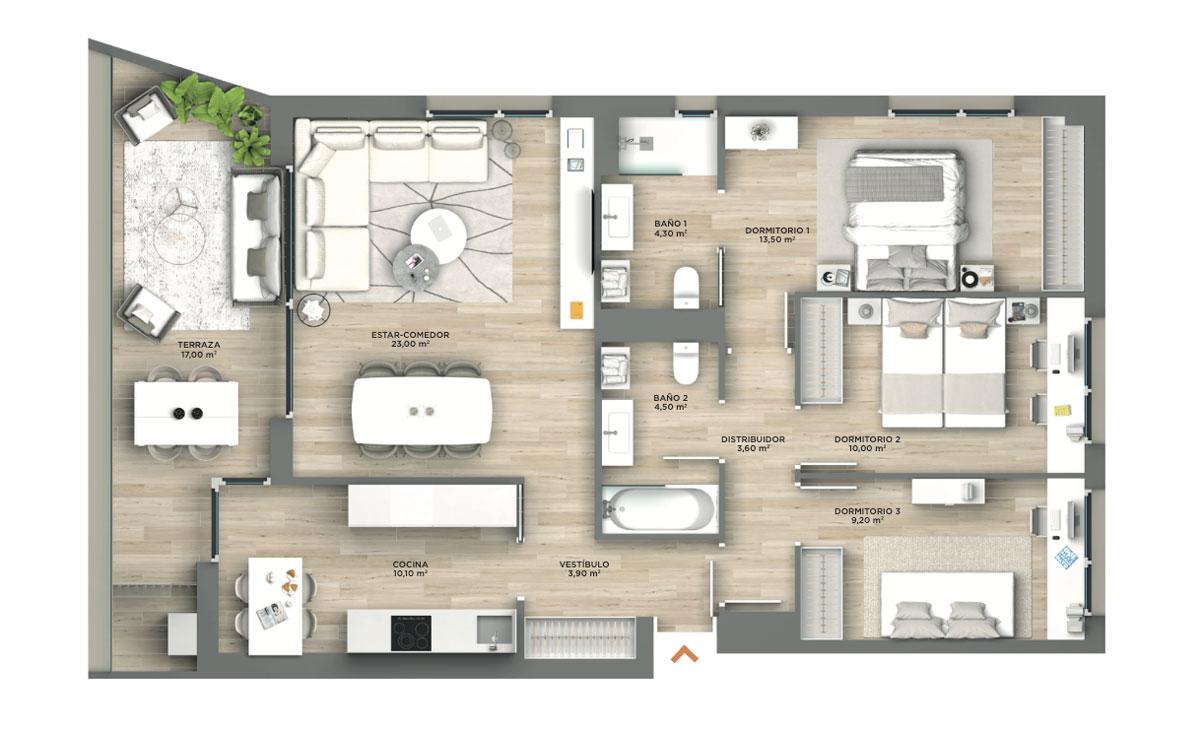 plano-praga-residencial-3-habitaciones